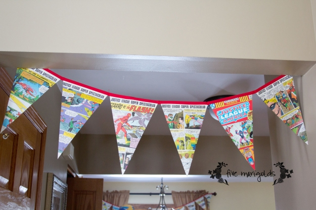 Super Hero Comic Book Birthday Party Bunting | Five Marigolds
