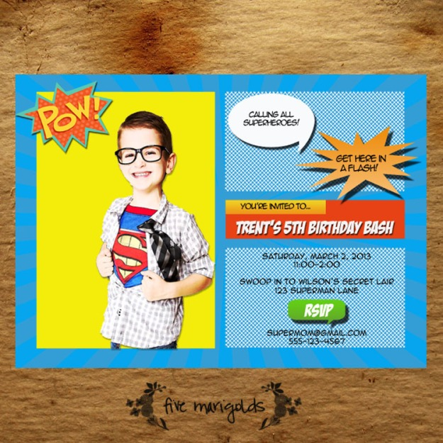 Super Hero Comic Book Birthday Party Invitation | Five Marigolds