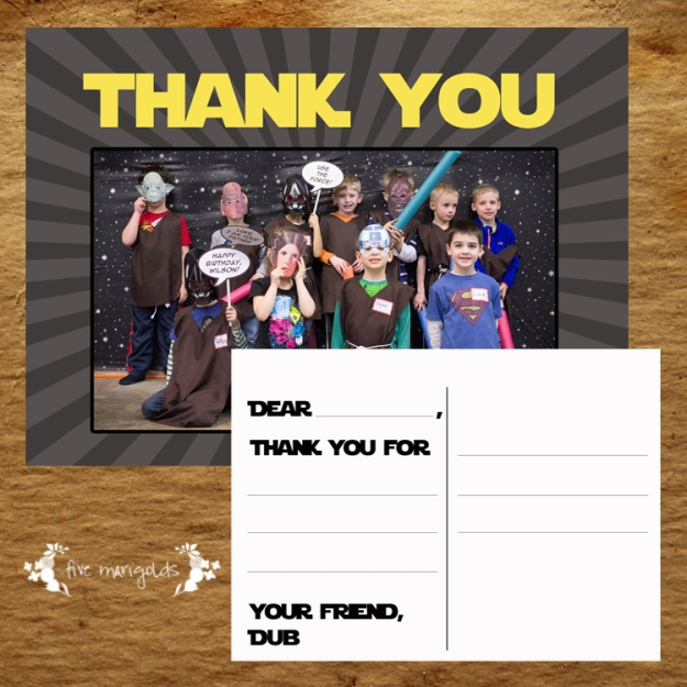 Star Wars Custom Thank You Postcard | Five Marigolds