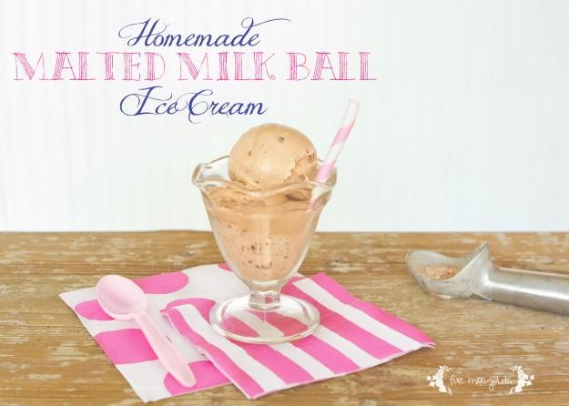 Homemade Malted Milk Ball Ice Cream | Five Marigolds