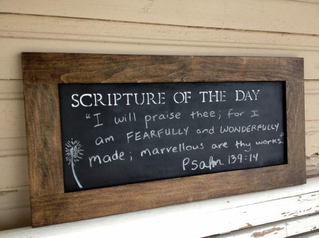 Daily scripture chalkboard