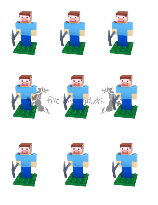 Minecraft Steve Lego Favor Insert Printable web| Five Marigolds